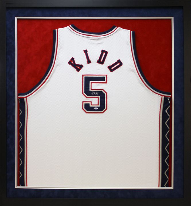 Nets Kidd #5 Basketball jersey in custom sports shadowbox. Designed ...