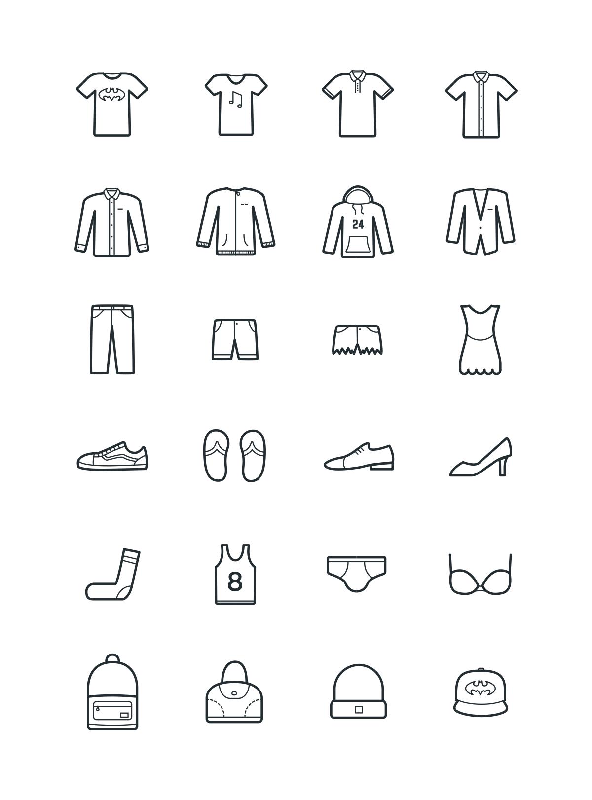 24 clothes icons Web design freebies, Icon design