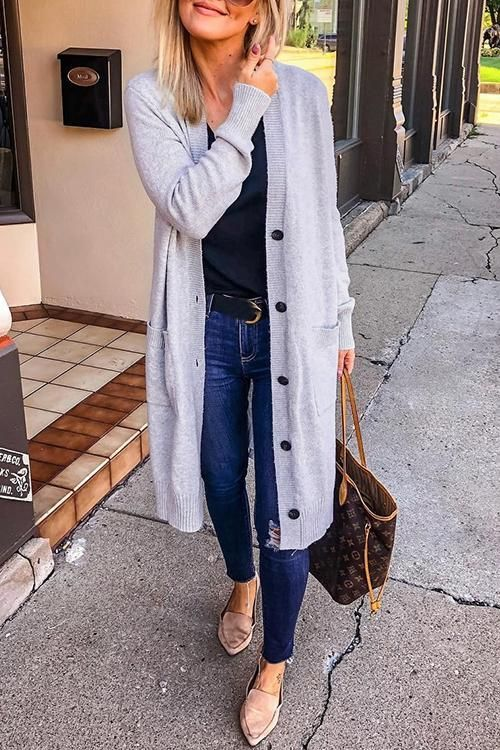 Long Sleeve Open Front Buttons Pocket Cardigan #cardigans