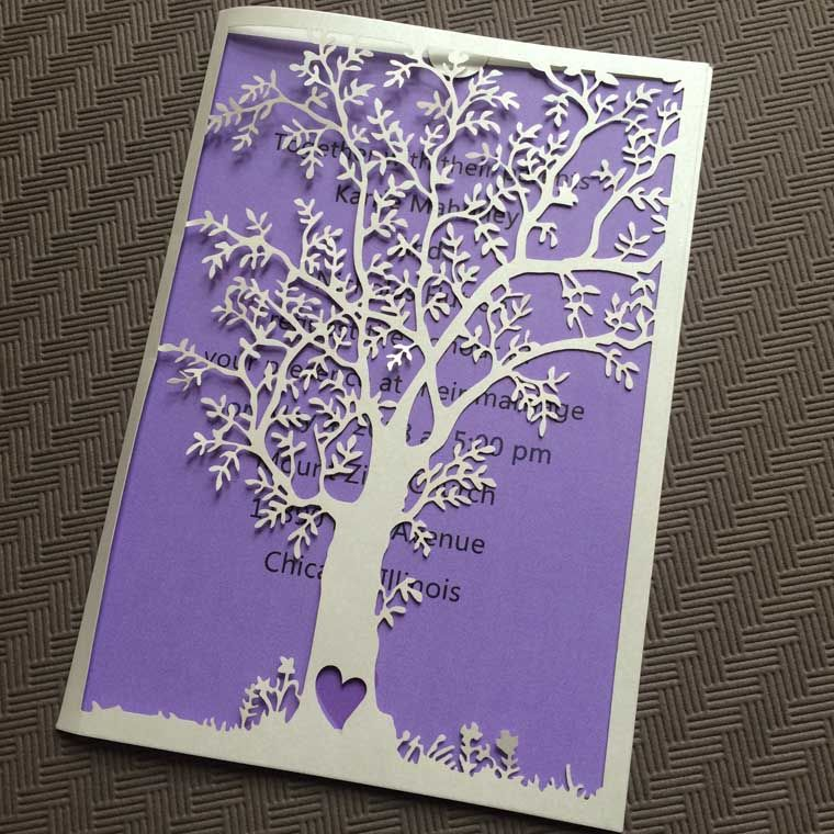 Beau White Laser Cut Tree Wedding Invitation With Purple Insert