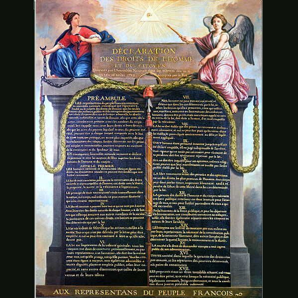 This is a picture of the Declaration of the rights of man and ...