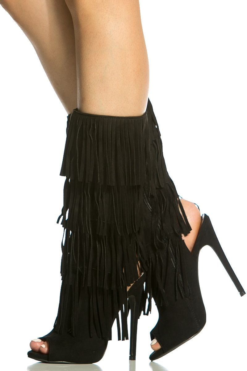 Black Faux Suede Fringe Peep Toe Boots @ Cicihot Heel Shoes online store  sales:Stiletto