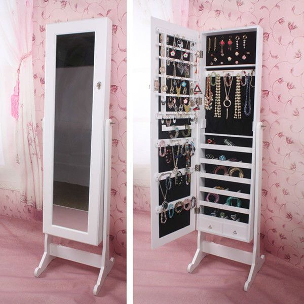 Large Jewelry Stand Armoire Mirror Cabinet Storage White Cheval Case Box  Lock