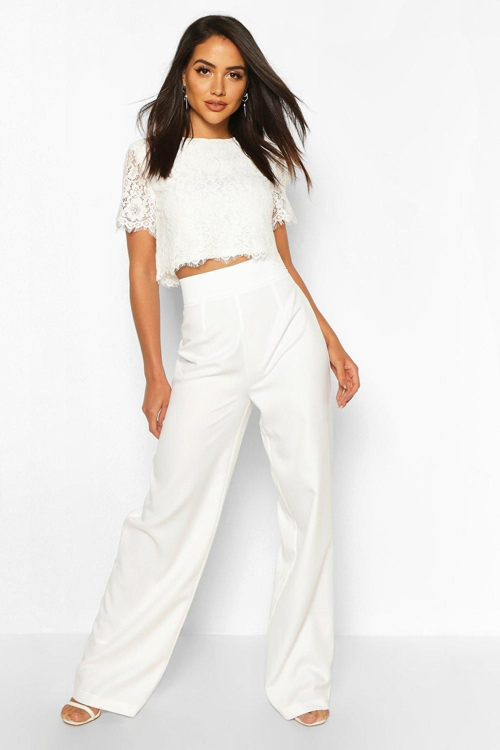 Woven Lace Top And Pants Two Piece Set Boohoo In 2021 Rehearsal Dinner Outfits Wedding Outfits For Women Bride Clothes [ 1500 x 1000 Pixel ]