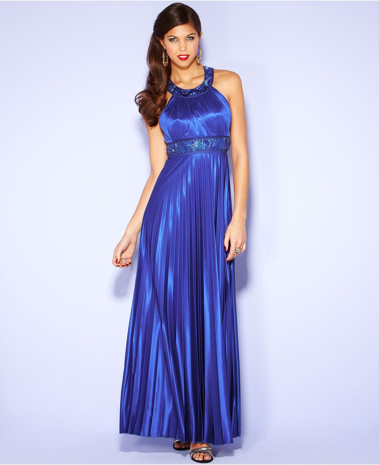 Sequin Hearts Juniors Dress, Sleeveless Pleated Beaded Gown ...