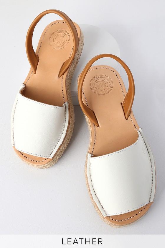 Leticia White Leather Espadrille Flat
