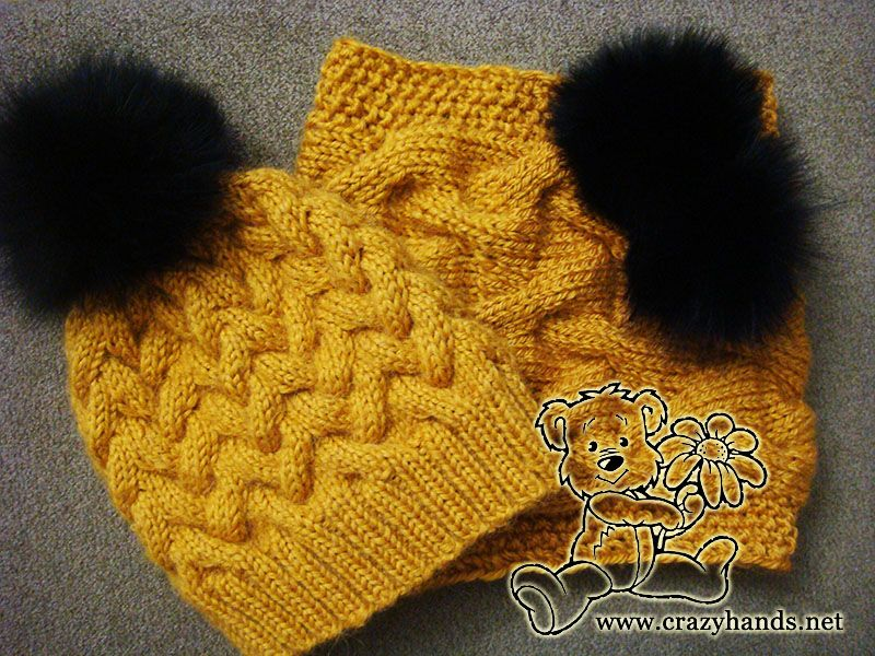Cable knit hat and cowl with fur pom poms. Knit w/alpaca but I\'m ...