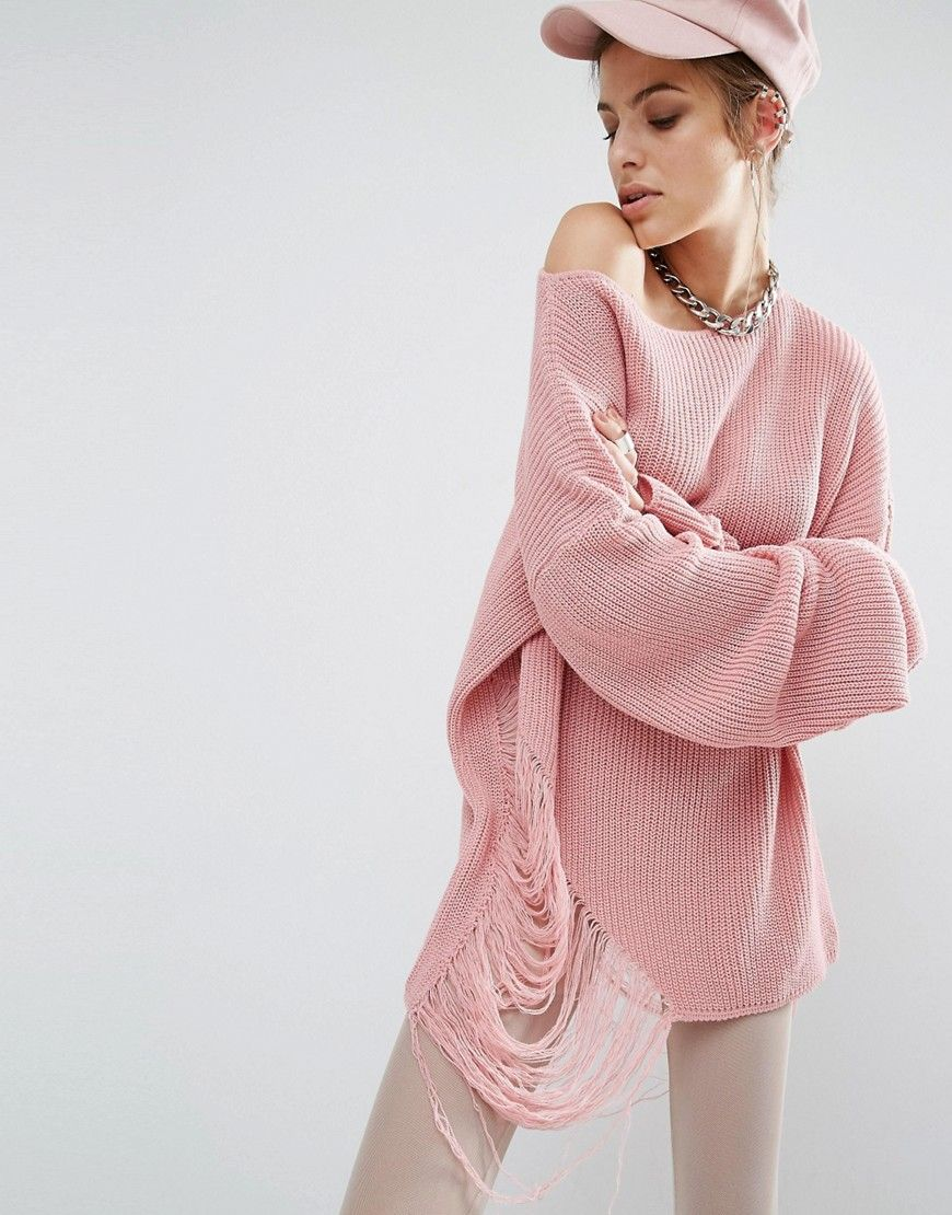 Image 1 of Bones Oversized Knit Jumper With Distressed Threading ...