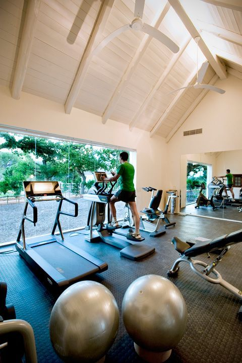 will need windows like that in a home gym, preferably overlooking the pool and gardens.