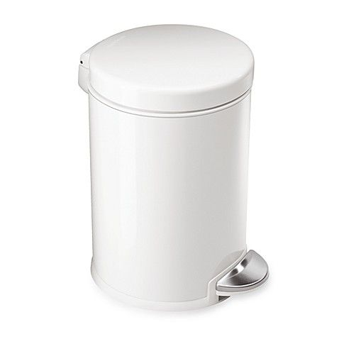 Best Simplehuman® Round 1 1 5 Gallon Step Wastebasket In White 640 x 480