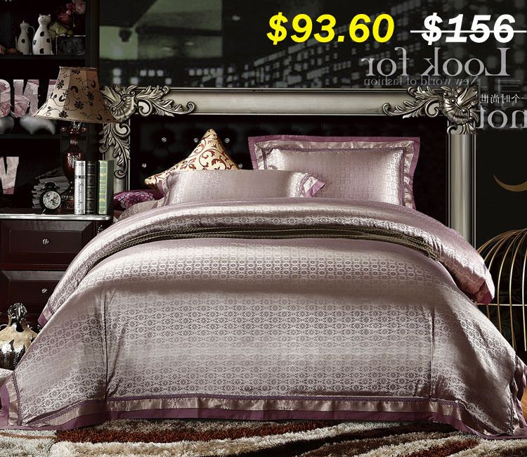 4pcs King Queen Size Silk Bedding Set Satin Silk Jacquard Quilt Cover Bed Sheet Pillow Cover Bedclothes Roupa Luxury Bedding Luxury Comforter Sets Unique Beds