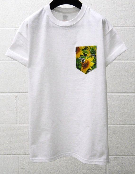 Men S Sunflower Bird Pattern White Pocket T Shirt Etsy Mens Tshirts Pocket Tee Shirts