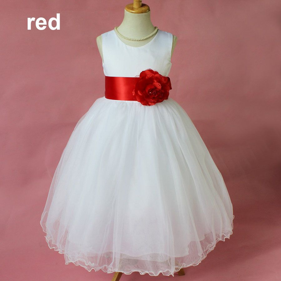 Fashion sleeveless white and red party wear kids party dresses for