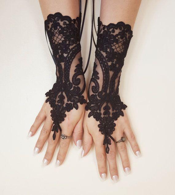 Bridal Wedding Fancy Dress Goth Burlesque Vintage Chic Fingerless Lace Gloves
