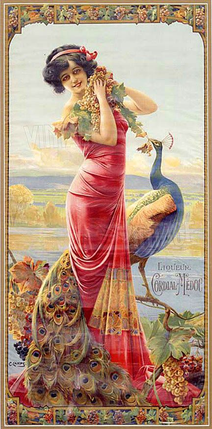 Art Nouveau Woman and Peacock