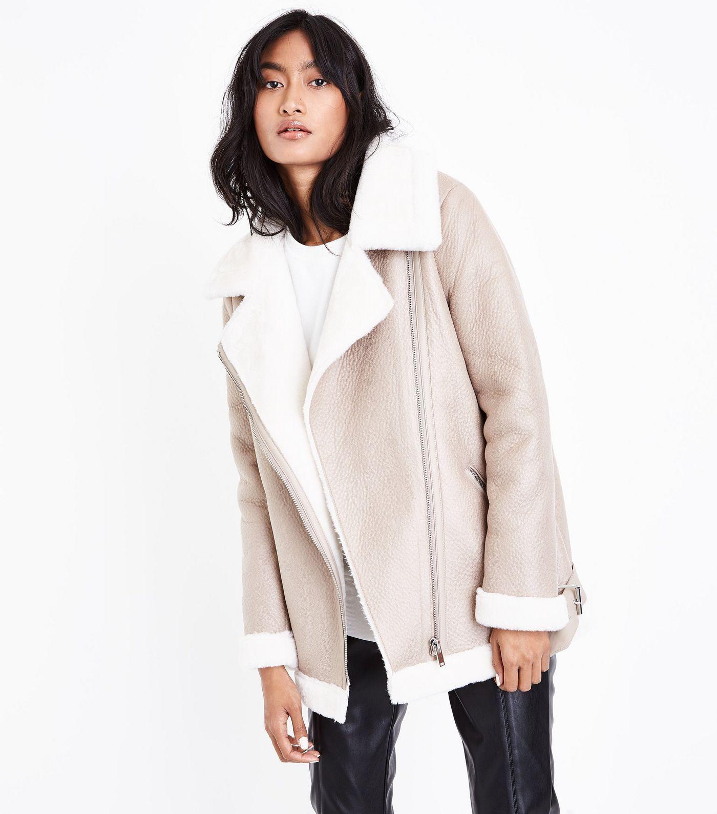 Cream Faux Fur Lined Aviator Jacket Aviator jackets