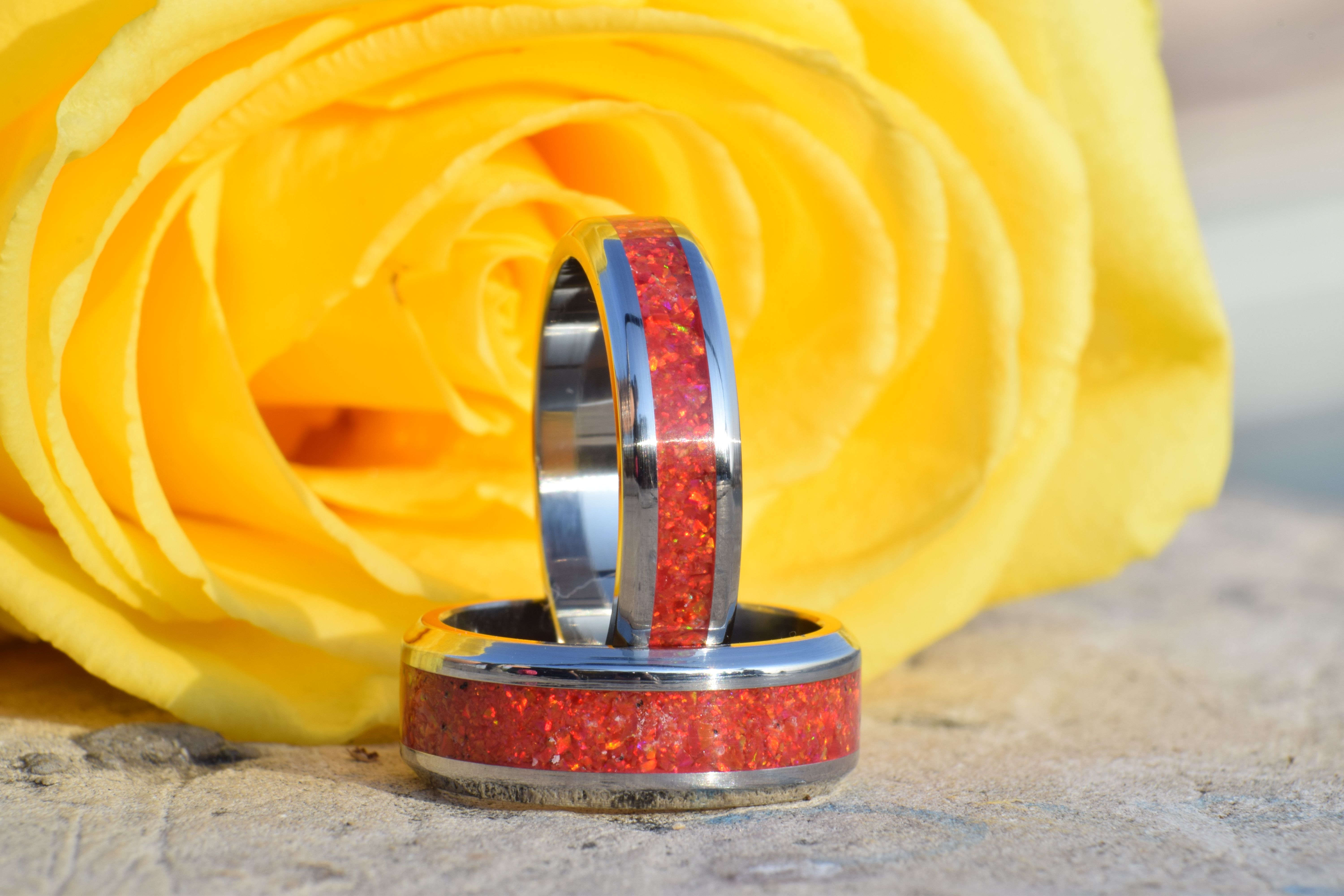 Wedding Ring, Stainless Steel Ring with Crushed Red Opal