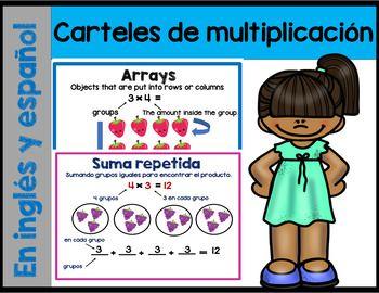 Carteles de multiplicación en ingles y espanol (multiplication posters)