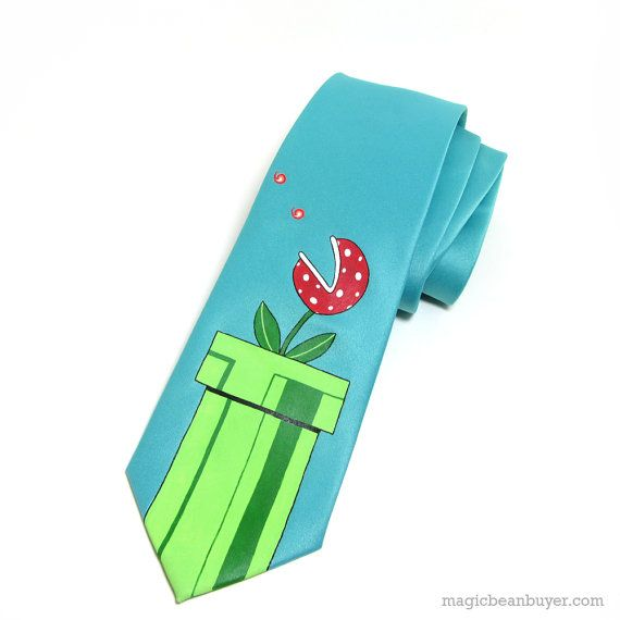Hand-Painted Super Mario Piranha Plant Necktie #super mario #mario #videogame #gamer