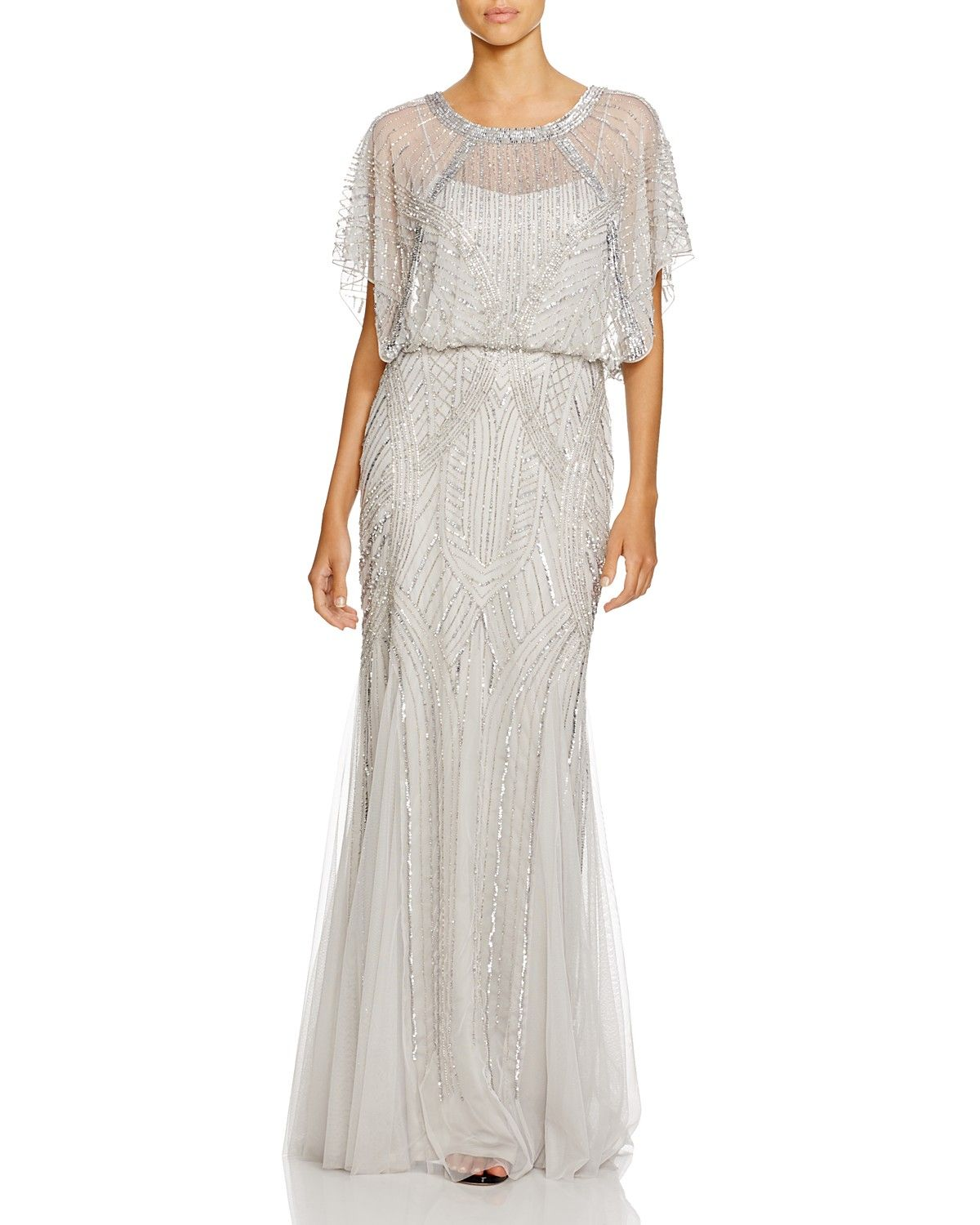 Aidan Mattox Flutter Sleeve Embellished Gown | Bloomingdale's