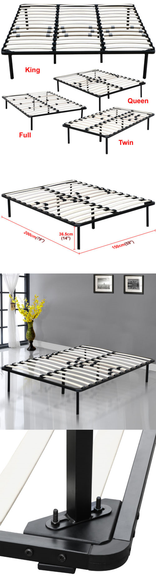 Furniture full king queen twin size wood slats metal bed frame