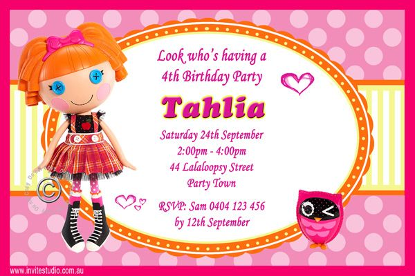 Awesome free lalaloopsy birthday invitations free printable awesome free lalaloopsy birthday invitations filmwisefo