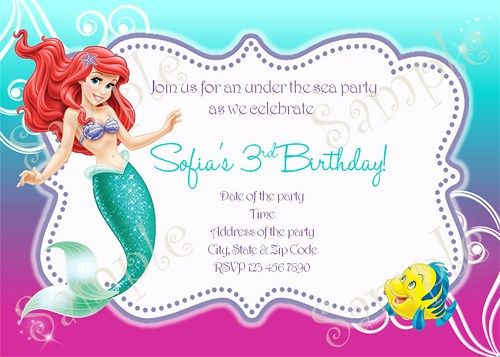 Little Mermaid Birthday Party Invitation Ariel FREE Thank You Card
