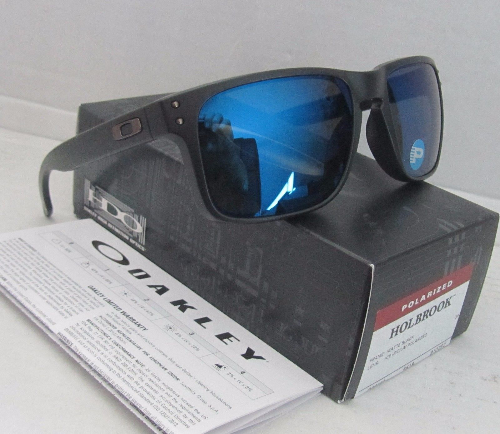208433af63 OAKLEY matte black ice iridium POLARIZED HOLBROOK OO9102-52 sunglasses! NEW!