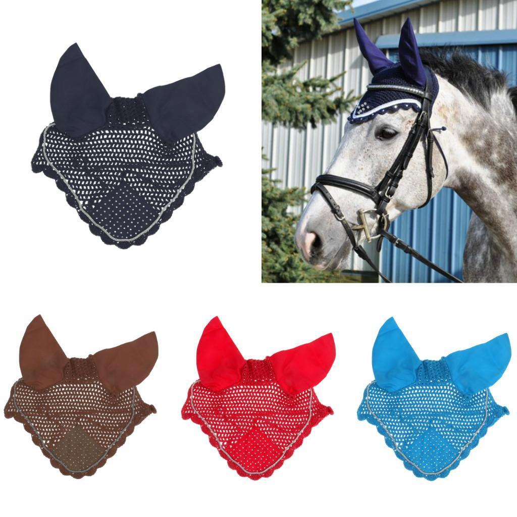 FLY VEIL HORSE EAR NET CROCHET EQUESTRIAN WITH PIPING WHITE COLOR FULL//COB//PONY