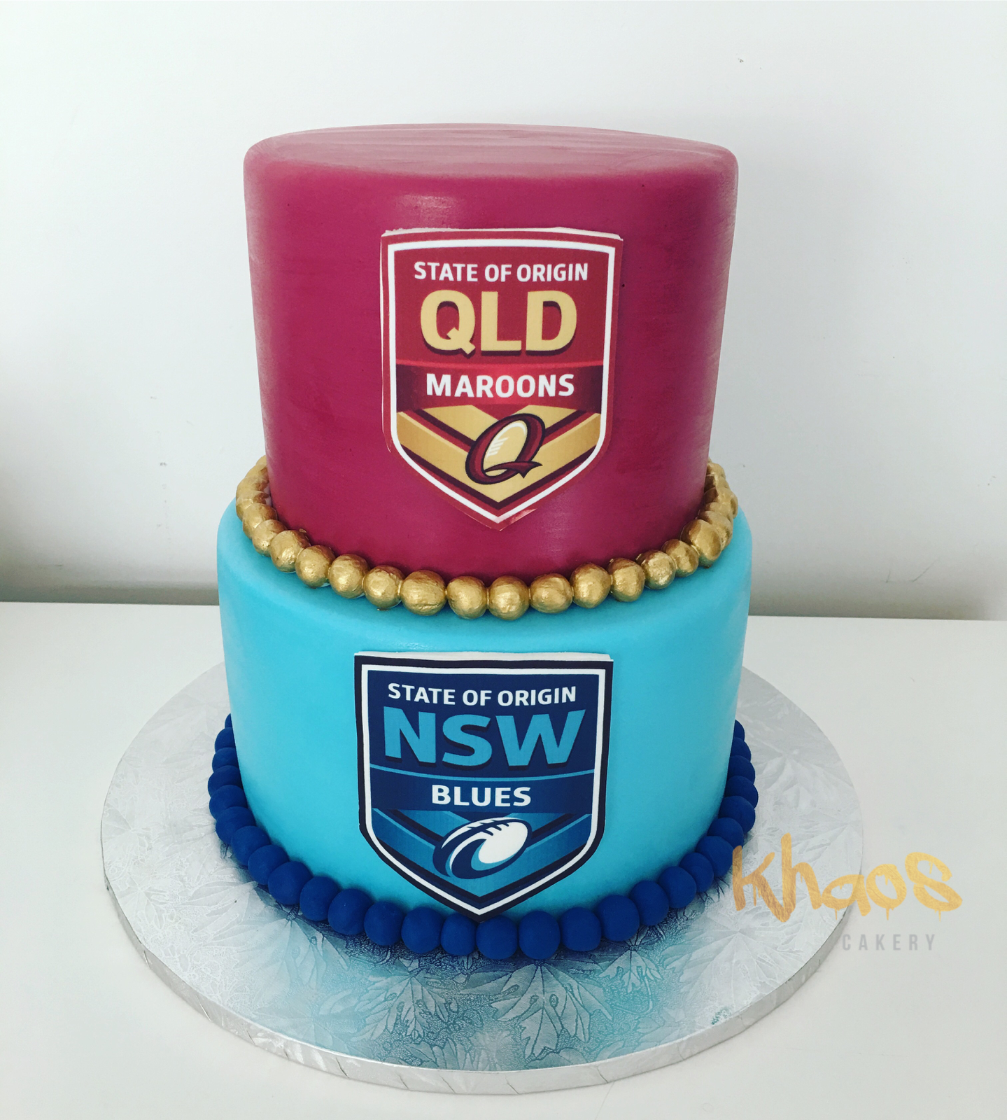 State Of Origin Red Velvet On Top And Chocolate On The Bottom With