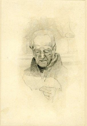 Head Of An Old Man Head Turned To Front And Looking Down At Paper Held In His L Hand Wearing Spectacles Graphite Drawings Sketches Portrait