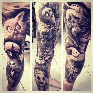 Tim Burton Sleeve Tatouages Pinterest Tatouage