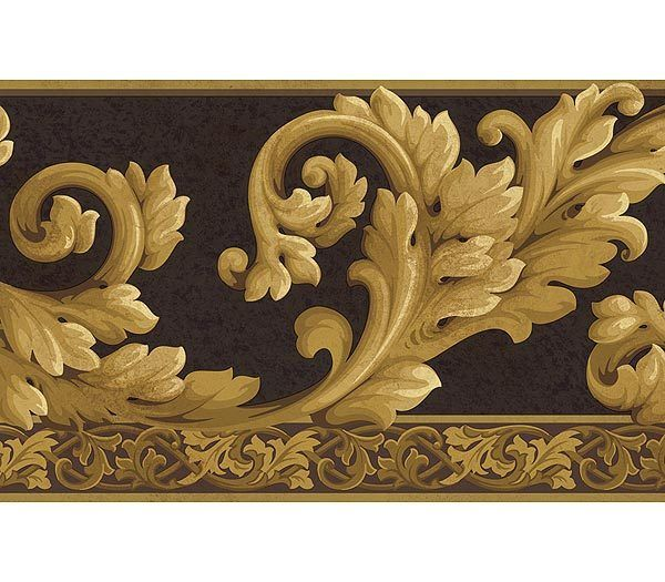 Acanthus wave black gold wallpaper border for my dining room