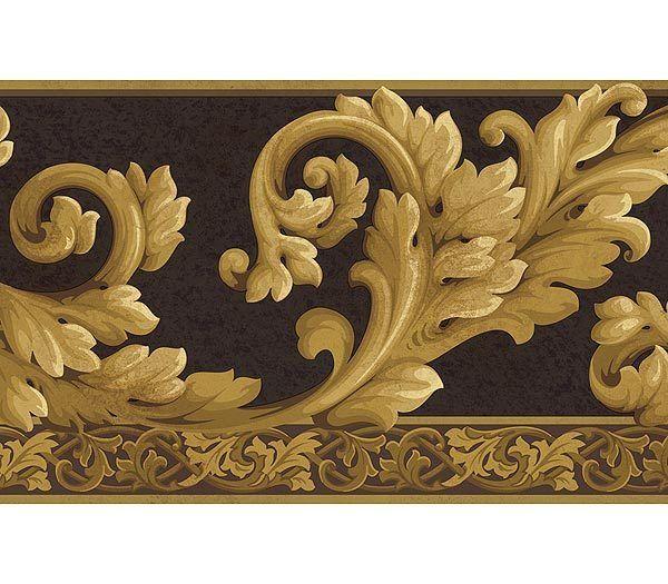 Wallpaper Borders Acanthus Wave Black Gold