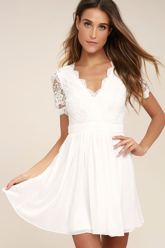 Look like you just arrived off of cloud nine in the Angel in Disguise White  Lace Skater Dress! Elegant scalloped lace shapes a V-neckline and short  sleeves ... c152e8dc5