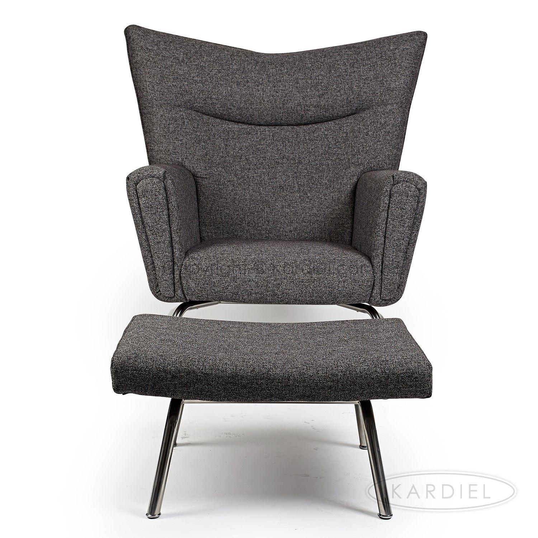 kardiel hans j wegner style wing chair ottoman south beach