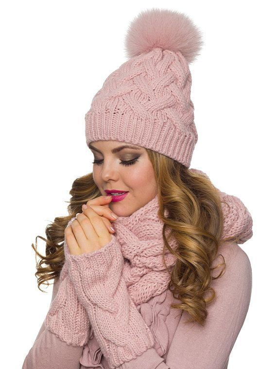 df7ab480593 Hat Scarf Gloves Pom pom hat Infinity Scarf Mittens Womens Hats For Women