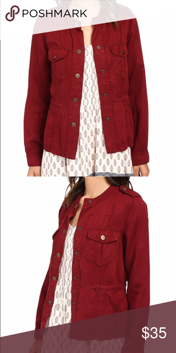 9137f41150dd0 Sanctuary field jacket in cranberry Very gently worn cranberry color field  jacket. Light weight and