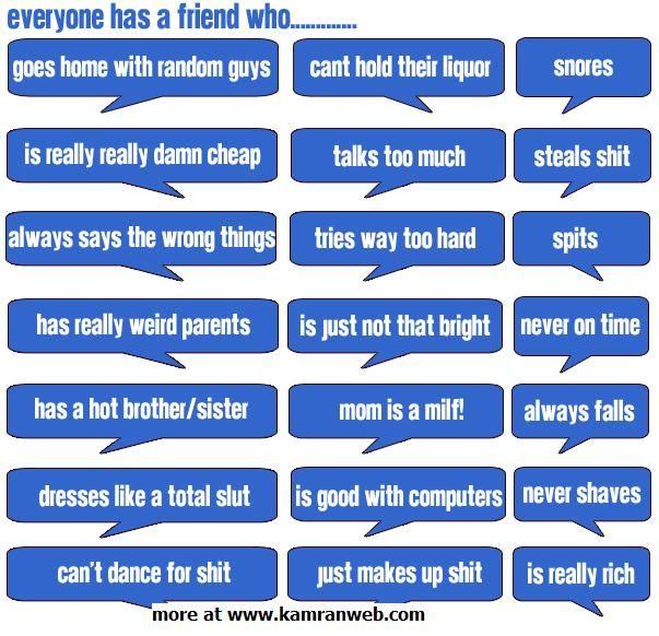 Facebook meme tag Everyone has a friend who