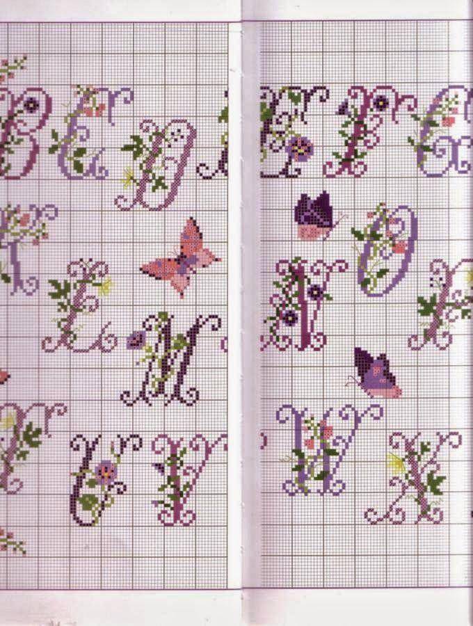 Ricami e schemi a punto croce gratuiti schema alfabeto for Punto croce schemi alfabeto
