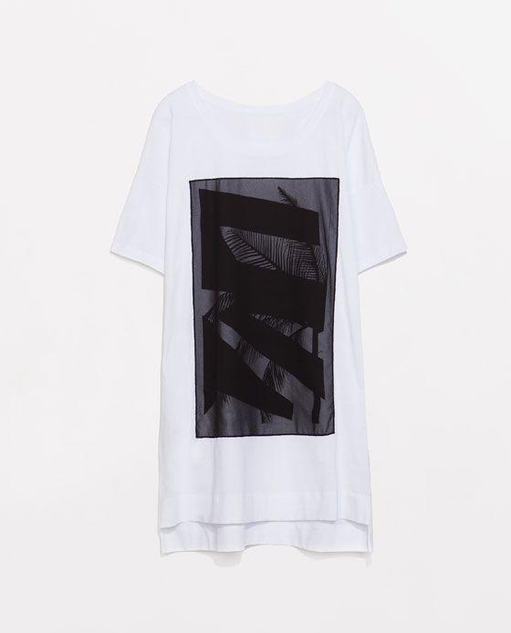 camiseta larga aplique por 17.95€ en zara #clausaclothes #zara