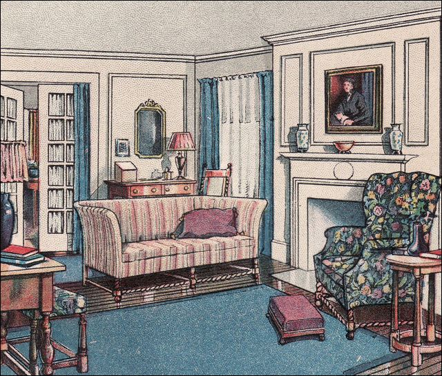 Modern Colonial Interior Design: 1916 Living Room, From The Attractive Home By Ekin Wallick