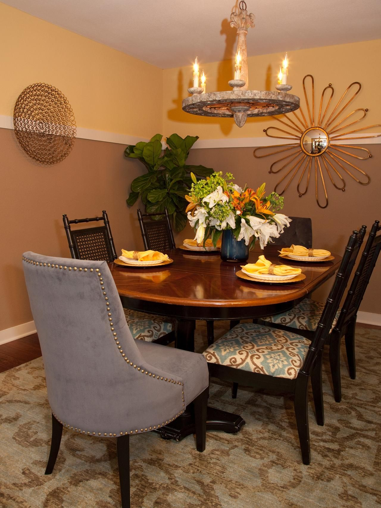 This Dining Room Features An Extra High Chair Rail And Two Toned Walls In Part 35