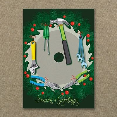 Construction Wreath Holiday Card perfect for home builders, handymen, carpenters! http://bustlingbride.carlsoncraft.com/Holiday/Shop-All-Holiday/YM-YM28789FC-Construction-Wreath--Holiday-Card.pro