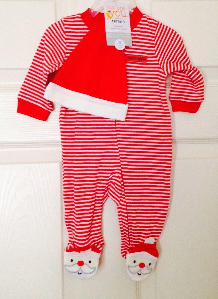 75ceca802969 NWT Carter s Santa s Helper  Christmas Striped Pajamas PJ s NB ...