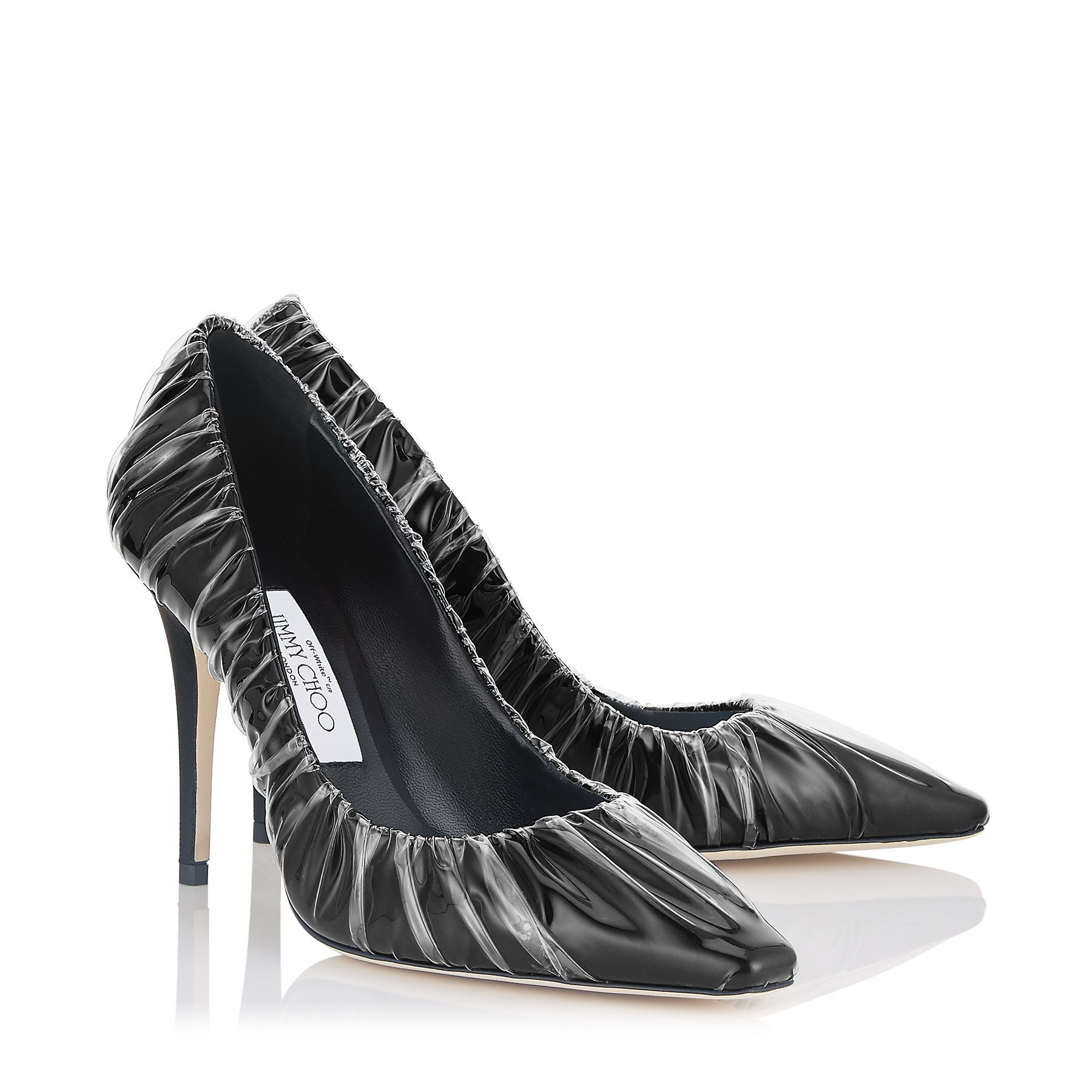 4c7931108f4a Jimmy Choo - + Off-White Anne 100 Black satin chisel toe pumps with ruched  TPU