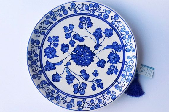 Wall Plate Decoration Blue And White Ceramic Art Aegean