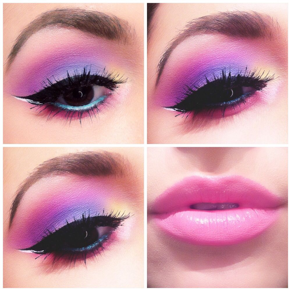 Pastel makeup. Pink, purple, yellow, cyan. Pink lips. Blue