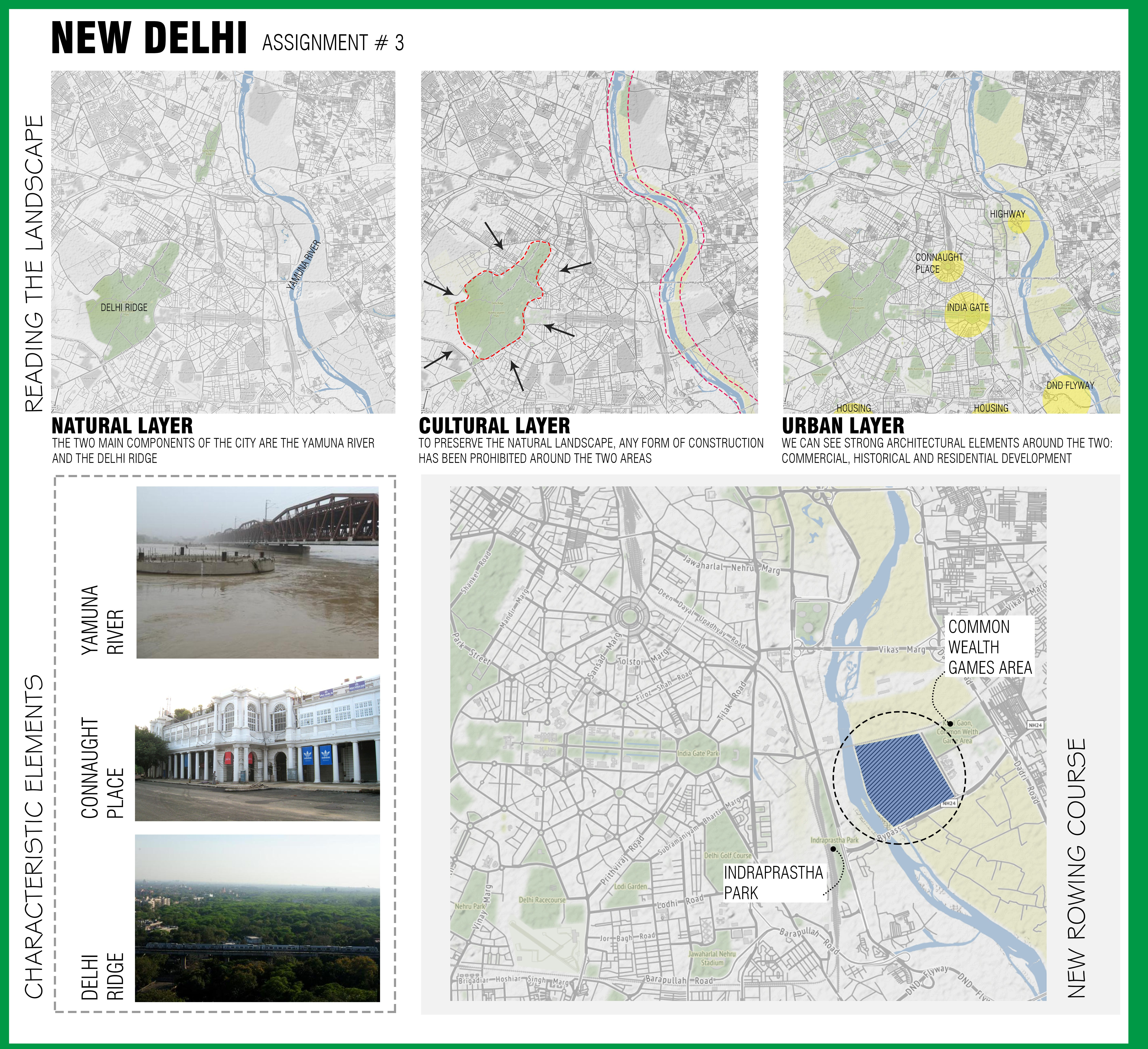 This is a study of New Delhi by reading the three layers of the area and suggesting where the new rowing course can be added.