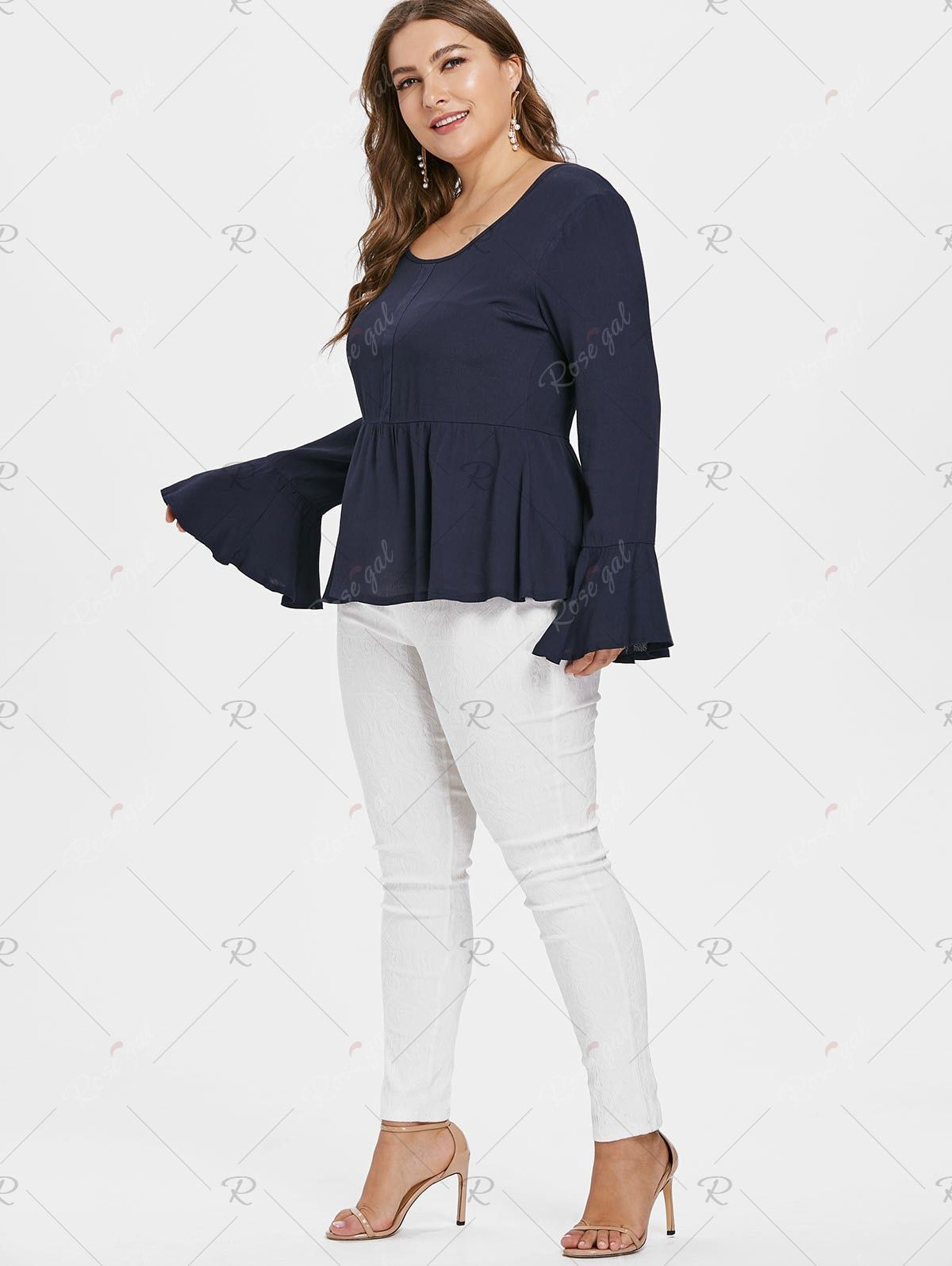 506aa8586cf96 Bell Sleeve Plus Size Round Neck Blouse